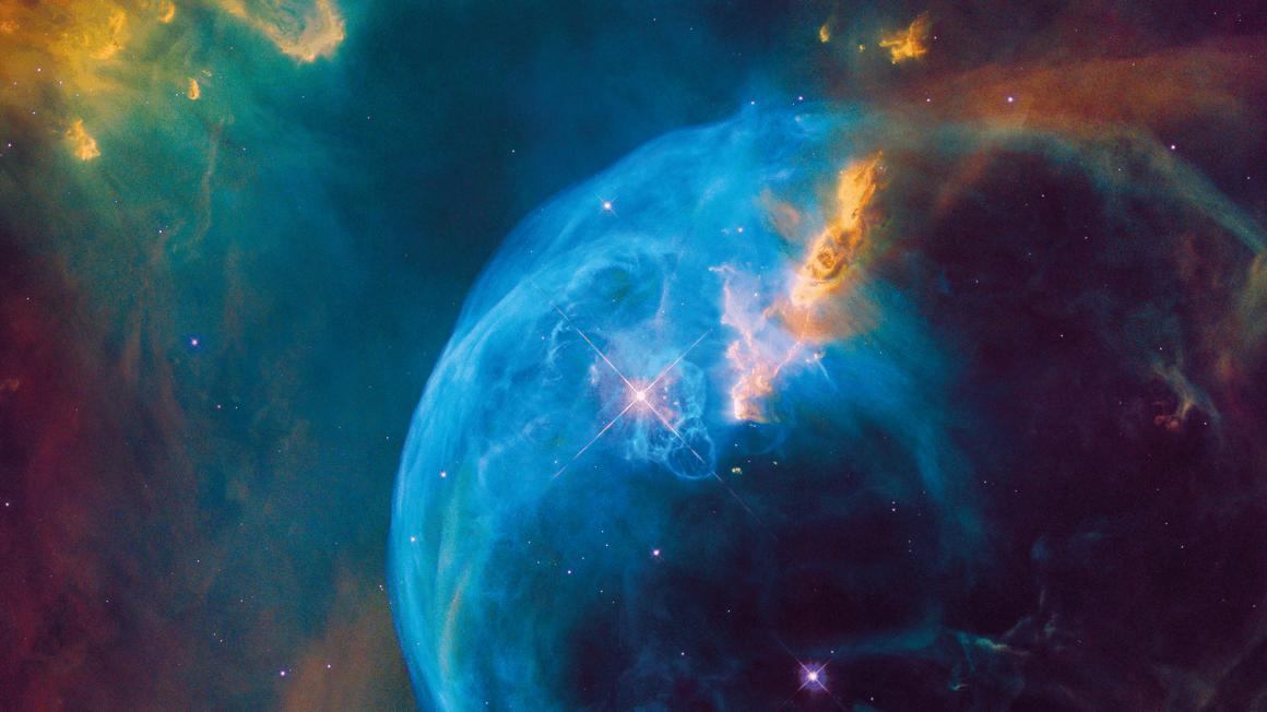 Weltraum-Foto eines entstehenden Planeten mit leuchtenden Sternen