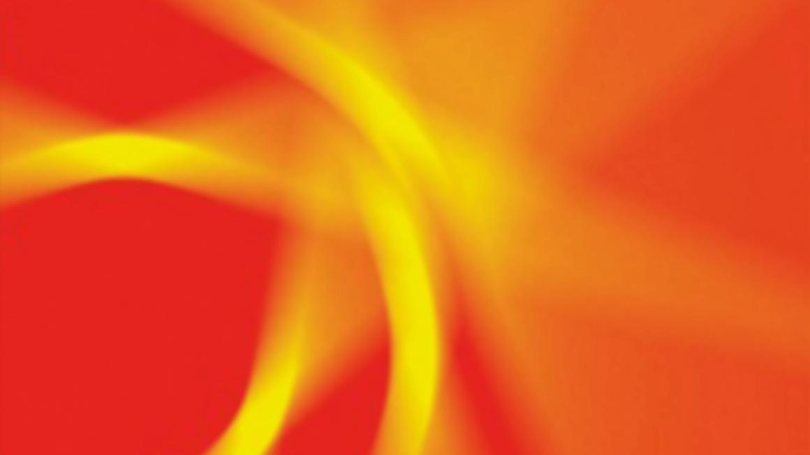Abstraktes Bild mit verschwommenen gelben Streifen auf rotem Hintergrund